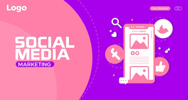 Modello di pagina di destinazione del social media marketing creativo