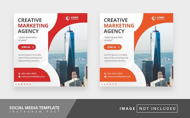 Modello di post sui social media creativo con il tema di un'agenzia di marketing