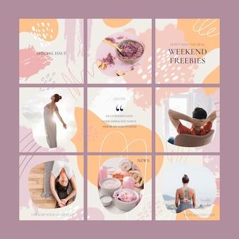 Feed di puzzle per social media creativo con 9 modelli