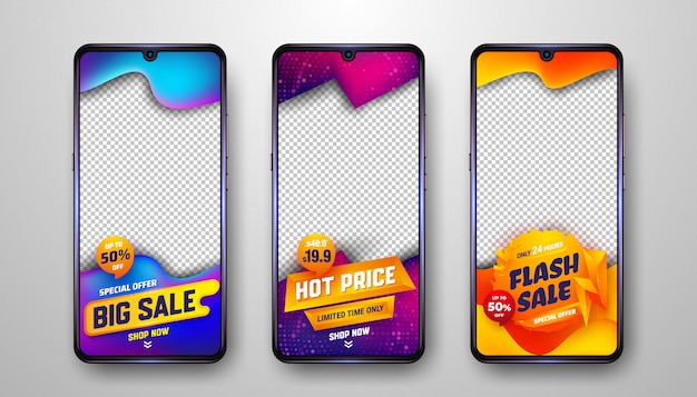 Modelli di storie di social media creativi per la promozione e la pubblicità delle vendite.