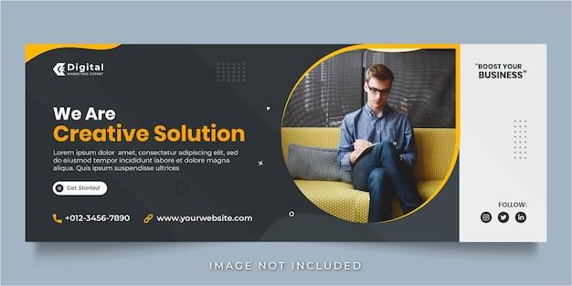 Agenzia di soluzioni creative e volantino aziendale copertina facebook post sui social media o modello banner web Vettore Premium