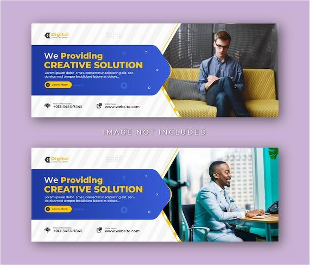 Soluzione creativa agenzia di marketing e volantino aziendale moderno modello di banner per post sui social media con copertina di facebook Vettore Premium