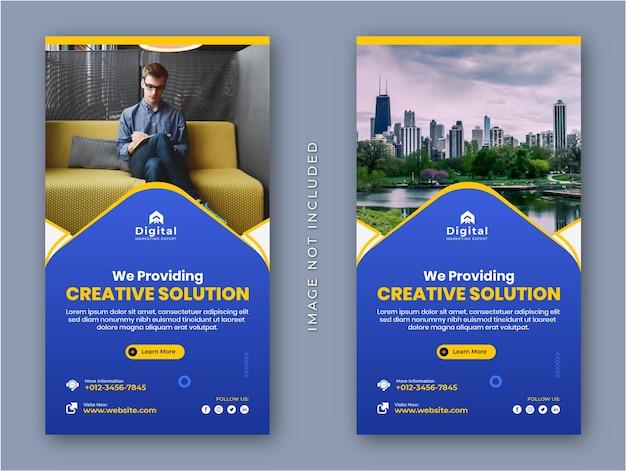 Soluzione creativa agenzia di marketing e volantino aziendale moderno storie di instagram modello di banner post sui social media
