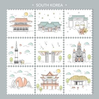Creative collezioni da viaggio in corea del sud in set di francobolli