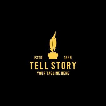 Racconto di storie creative con design del logo di piume