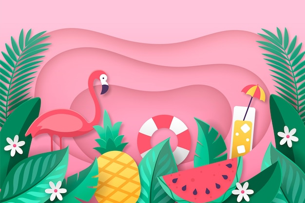 Sfondo estate creativa in stile carta Vettore Premium