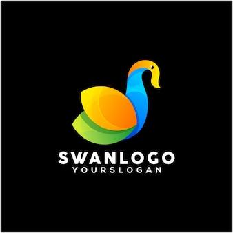 Vettore di design del logo colorato cigno creativo