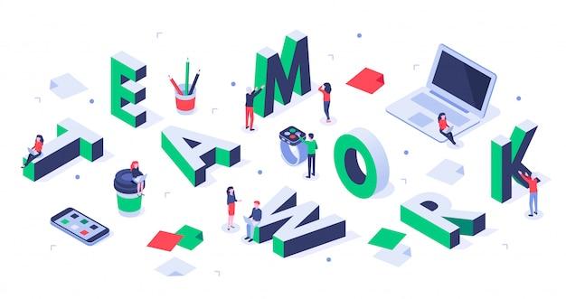 Il gruppo creativo, l'associazione degli uomini d'affari e le persone di successo che lavorano insieme vector l'illustrazione