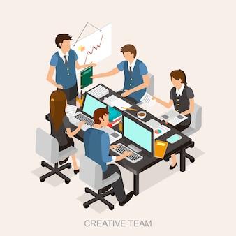 Concetto di team creativo in design piatto isometrico 3d