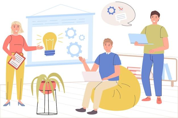 Concetto di squadra creativa uomini e donne colleghi discutono di attività di lavoro di brainstorming