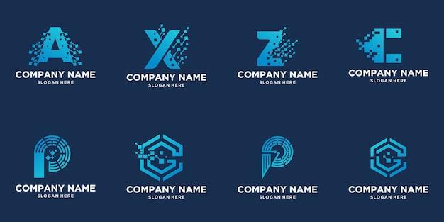 Design del logo della lettera di tecnologia creativa