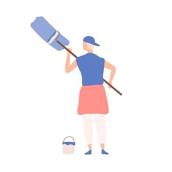 Creativo maschio adolescente pittura o scrittura di testo pubblicitario sull'illustrazione piana di vettore della parete. decoratore uomo hipster che tiene area di copertura del rullo di vernice di colore blu isolato su sfondo bianco.