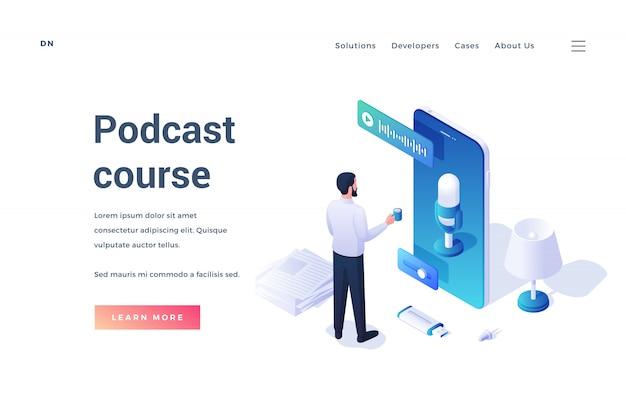 Modello creativo di sito web con uomo isometrico che utilizza smartphone con app di registrazione mentre si tiene un corso di podcast online isolato su bianco