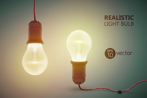 Modello creativo con due lampadine al tungsteno realistiche su fili opposti tra loro e illustrazione brillante