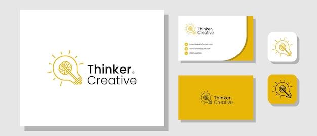 Design del logo del pensatore creativo con lampadina e modello di layout del cervello brand identity