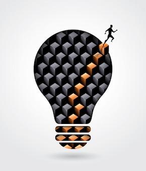 Illustrazione di concetto di affari di soluzione di pensiero creativo