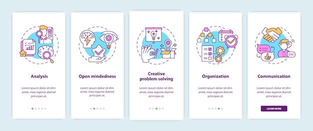 Tipi di pensiero creativo onboarding schermata della pagina dell'app mobile con concetti