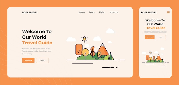 Pagina di destinazione dell'agenzia di guida turistica creativa premium vector