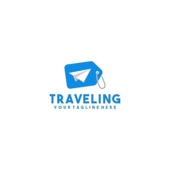 Logo di tag di viaggio creativo