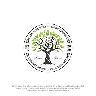 Logo design albero creativo, stile vintage