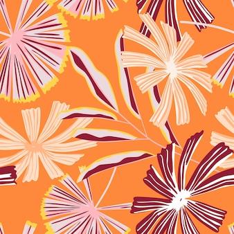 Modello senza cuciture di foglie di palma tropicali creative. la giungla astratta lascia la carta da parati botanica.