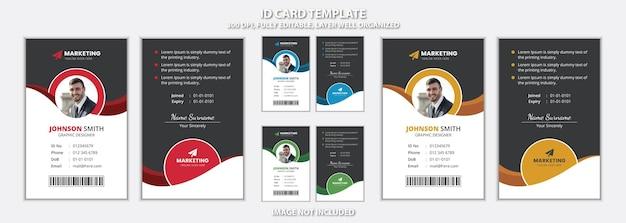 Design unico del modello di carta d'identità per ufficio creativo per uso multiuso
