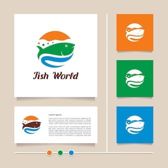 Design creativo del logo del mondo del pesce vettoriale con logo moderno del mondo del mare di colore arancione blu e verde