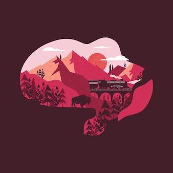 Illustrazione vettoriale creativo del modello di progettazione grafica a forma di t-shirt a forma di nuvola con il treno che attraversa le montagne e l'animale selvatico in piedi sulla roccia nella natura estiva. isolato su sfondo scuro