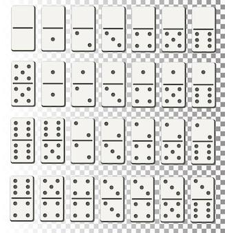Illustrazione vettoriale creativo di set completo di domino realistico isolato su sfondo trasparente domino...
