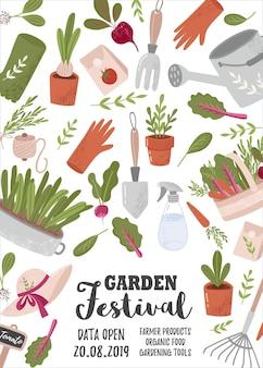 Modello di volantino o poster verticale creativo con attrezzi da giardinaggio e posto per il testo per il giardino