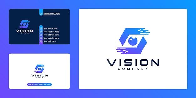 Design del logo e biglietto da visita della tecnologia creative vision. soluzione aziendale intelligente