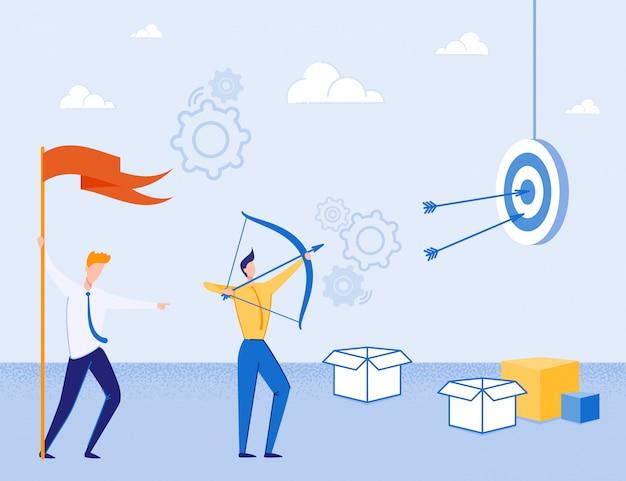 Modo creativo per raggiungere la metafora degli obiettivi aziendali