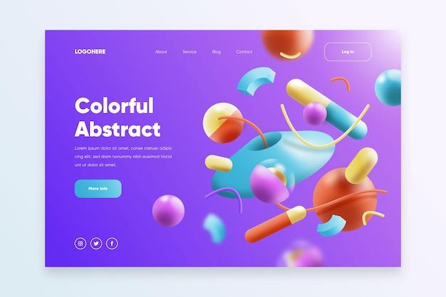 Modello di pagina di destinazione del sito web creativo con forme 3d illustrate