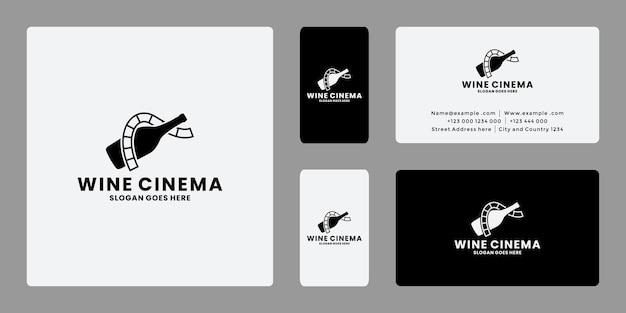 Biglietto da visita di vettore di progettazione di logo di cinema di vino creativo