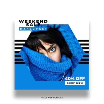Modello di post social media colorato negozio femminile creativo minimo
