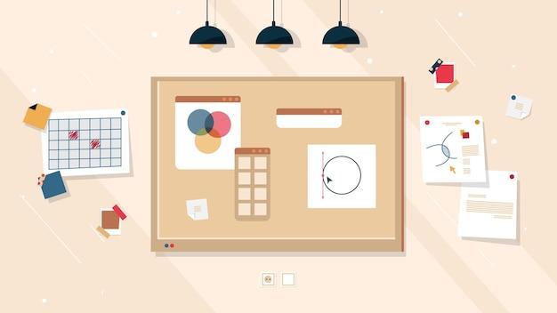 Idee creative del bordo di lavoro e progetto di affari, priorità bassa della lavagna in sughero o sughero.