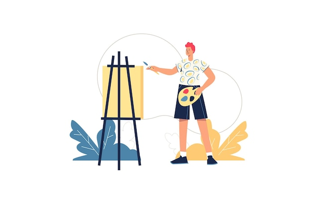 Concetto di web di lavoratori creativi. l'artista dipinge l'immagine su tela. l'uomo con vernici e pennello impara a disegnare, lezione in studio d'arte, scena di persone minime hobby illustrazione vettoriale in design piatto per sito web