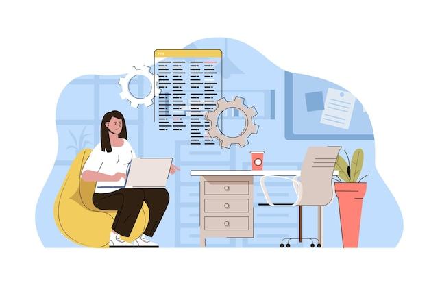 Illustrazione creativa di concetto di web dell'area di lavoro con carattere piatto della gente