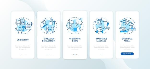 Elementi di scrittura creativa nella schermata della pagina dell'app mobile con concetti