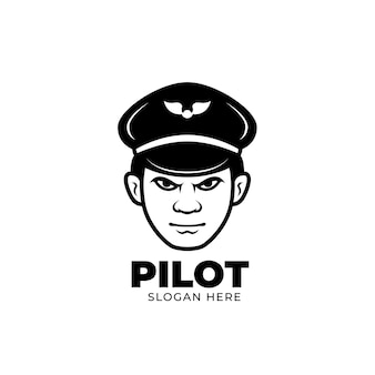 Creativi linea nera pilota mascotte logo design