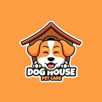 Creativi dog house pet care logo design