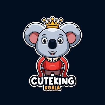 Creativi koala re logo mascotte dei cartoni animati carino