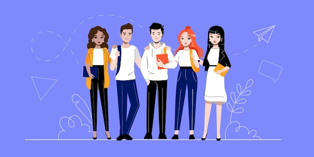 Creatività, brainstorming, innovazione e concetto di lavoro di squadra. gruppo di sostenitori di successo di persone o studenti è in piedi in fila insieme. illustrazione piana di vettore del profilo lineare del fumetto.