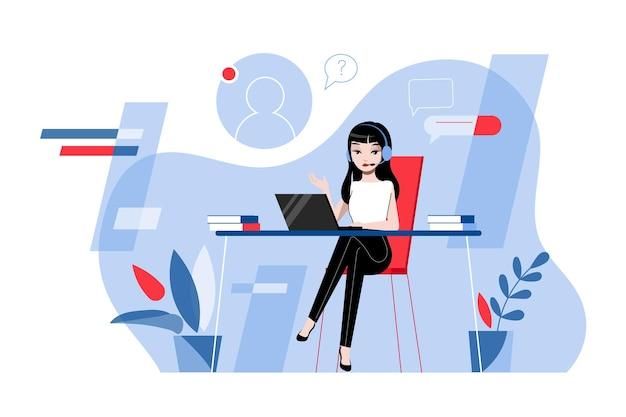 Creatività, brainstorming, innovazione e concetto di lavoro di squadra. lavoratore di supporto tecnico donna con auricolare sta lavorando nel centro di consulenza o in ufficio. illustrazione piana di vettore del profilo lineare del fumetto.