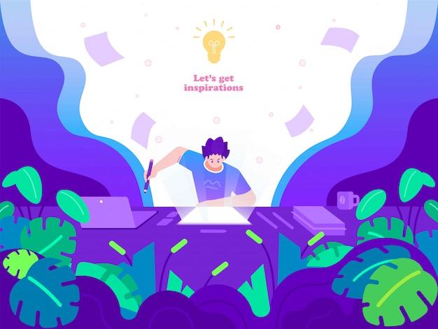 Creatività, idea e illustrazione del concetto di ispirazione