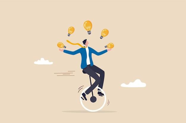 Creatività e idee, innovazione o abilità per il successo negli affari