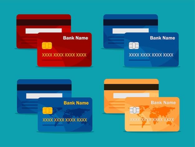 Vista anteriore e posteriore della carta di credito modello di set di carte bancarie pagamento online