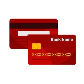 Vista anteriore e posteriore della carta di credito. modello di carte bancarie. pagamento online. ritiro contanti.