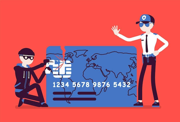 Illustrazione di hacking della carta di credito