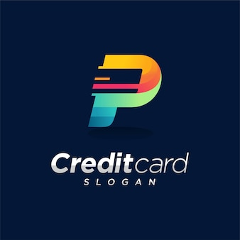 Logo della carta di credito con il concetto della lettera p